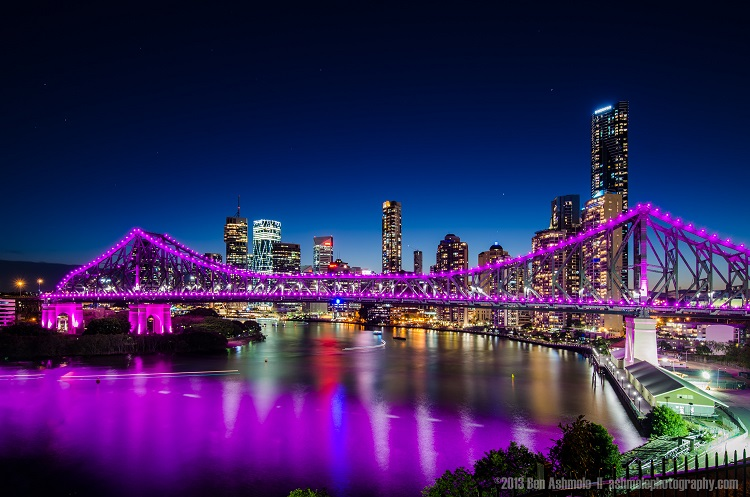 Brisbane's city skyline with the Story Brodge lit up purple. All images creative commons non commercial. www.ashmolephotography.com