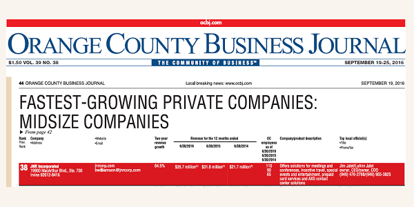 JNR Named as One Of The Fastest Growing Companies in Orange County